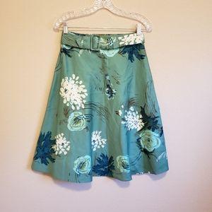 Anthropology Odille Green/Blue Floral Belted Skirt